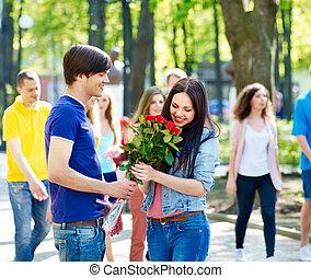 datum, paar, outdoor., teenager