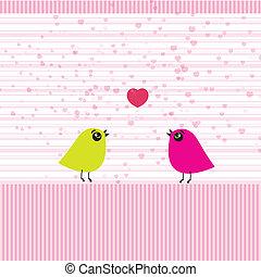 datum, reizend, lieben vögel