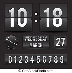 datum, retro, tik, tweevoudig, klok