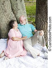 datum, senior, -, paar, romantische
