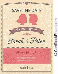 datum, sparen, uitnodigingskaart, trouwfeest