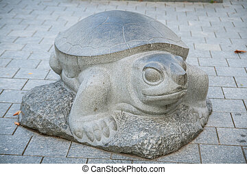 Daugavpils, Latvia - September 3, 2013: Urban sculpture turtles