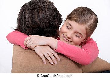 daughter., étreindre, elle, mère