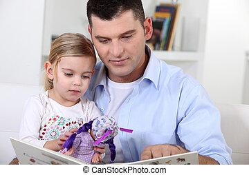 daughter., 父, 読書, 彼女