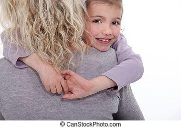 daughter., abbracciare, lei, madre