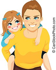 Handsome young dad with his daughter on piggyback ride smiling happy together