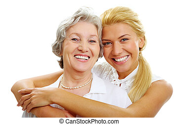 Daughter and mother - Portrait of daughter embracing her ...