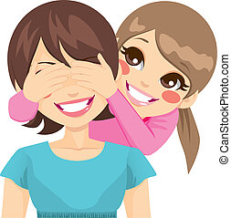 Daughter Covering Mother Eyes - Little daughter smiling...