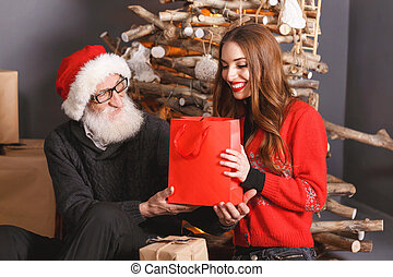 Daughter Gives A Gift To Her Dad