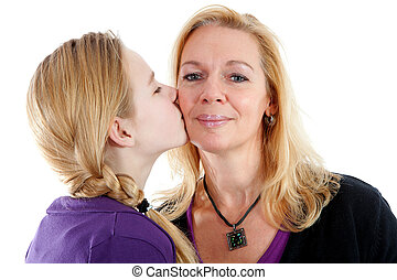 Daughter gives mother a kiss on the cheek