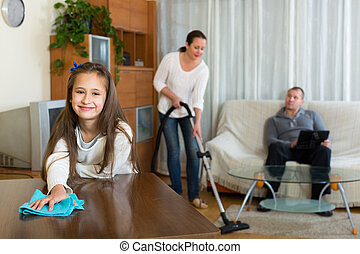 Daughter helping mother to clean - Cute daughter helping ...