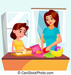 Daughter Helps Her Mother Cooking Together In The Kitchen Vector. Isolated Illustration