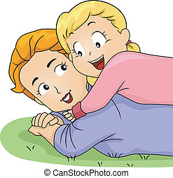 Daughter Hugging Mom - Illustration of a Daughter Hugging...