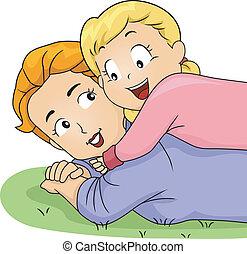 Daughter Hugging Mom - Illustration of a Daughter Hugging...