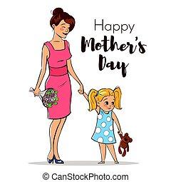 daughter., lei, colorito, illustrazione, mano, vettore, madre, disegnato, felice