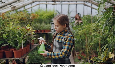 Daughter of greenhouse owner is helping her mother in workplace sprinkling water on seedlings and flowers in hothouse while her mom is working in background.