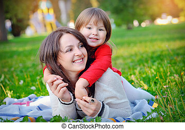 daughter with her mother in the park