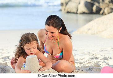 Daughter with her mother making a s
