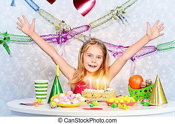 daughters birthday - Beautiful little girl enjoys her ...