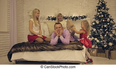 Christmas family photo shoot in a room .full HD video