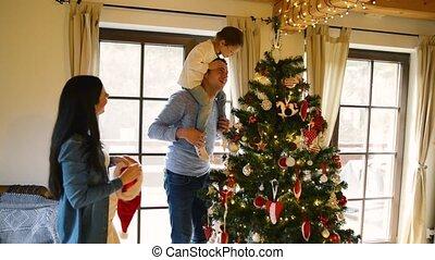 daugter, семья, дерево, молодой, home., рождество