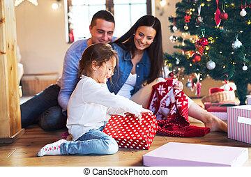 daugter, 家系, 若い, home., クリスマス