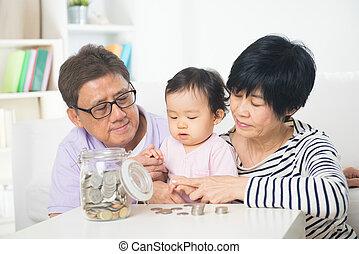daugther, économie, grands parents, asiatique, concept, education