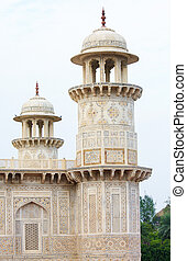 daulah, timad, uttar, minarety, agra, ud, grób, pradesh