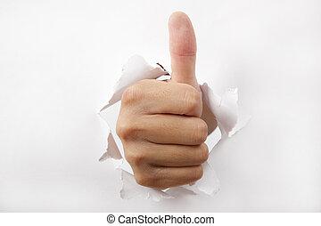 daumen, hand, brechen, papier, durch, weißes