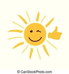 daumen, sonne, gelbes gesicht, lächeln glücklich