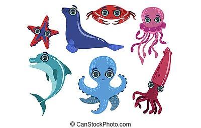 dauphin, mignon, collection, animaux, calamar, créatures, illustration, océan, cachet, poissons, vecteur, poulpe, mer, etoile mer, crabe