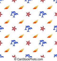 dauphins, coquilles, modèle, seamless, starfish., vecteur, mer