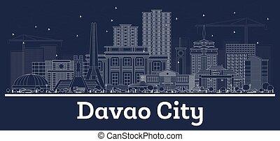 davao, skyline, stadt, gebäude., philippinen, weißes, grobdarstellung