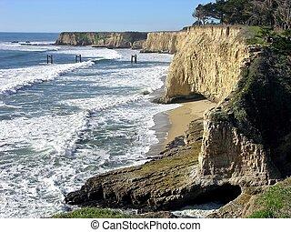 Cliffs along the pacific, near Davenport, California.