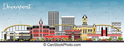 Davenport Iowa Skyline with Color Buildings and Blue Sky. ...