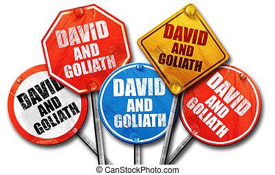david and goliath, 3D rendering, street signs, 3D rendering, str
