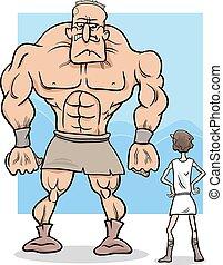 david and goliath cartoon illustration - Cartoon Concept...