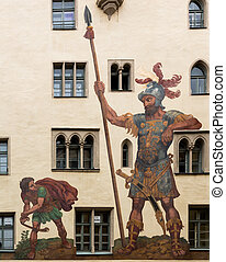 David and Goliath in Regensburg Germany - Mural of David and...