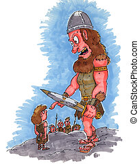 David and Goliath - David confronting Goliath with his sling...
