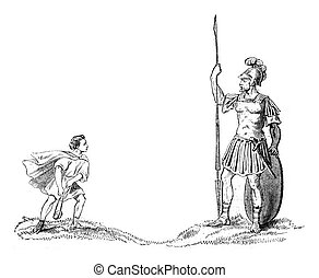 David and Goliath, vintage engraving.