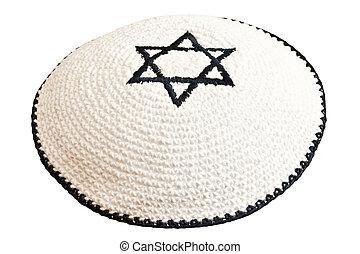 david, bordado, tradicional, headwear, estrella judía
