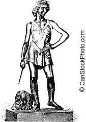 david, estatua, goliath, ganador, florencia, andrea, verrocchio, engraving., bronce, nacional, vendimia, museo