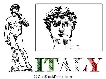 david, estatua, ilustración
