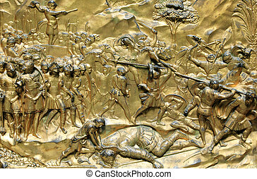 David & Goliath - Medieval 15h century gilded relief of...