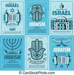 david, juif, israël, menorah, étoile, religion, torah