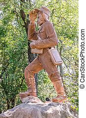 David Livingstone statue in Victoria Falls, Zambia -...