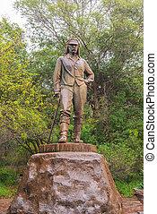 David Livingstone statue in Victoria Falls, Zimbabwe -...