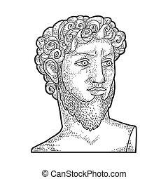 David sculpture with beard sketch engraving vector...