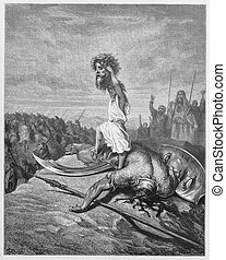 David slays Goliath - Picture from The Holy Scriptures, Old...