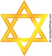 David star icon, cartoon style - David star icon. Cartoon of...